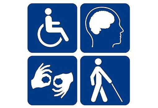 Cztery ikony symbolizujące różne rodzaje niepełnosprawności: ruchowej, intelektualnej, narządu mowy i słuchu oraz narządu wzroku.